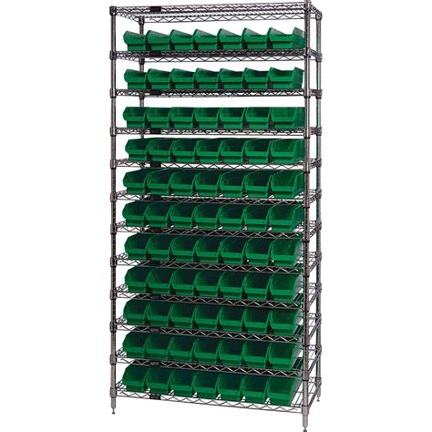 quantum storage 77 bin chrome wire shelf bin system 36in