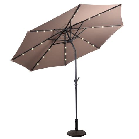 10 ft patio solar umbrella with crank and led lights