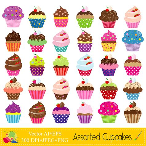 cupcake clipart assorted cupcakes clip birthday colorful