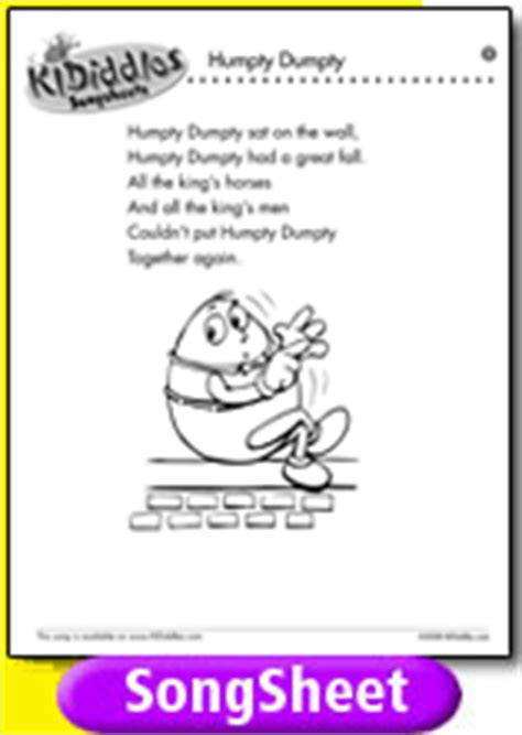 humpty dumpty song and lyrics from kididdles