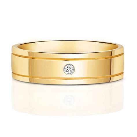 mens 9ct yellow gold 6mm court wedding ring