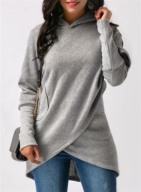 design hoodie sleeves women s long sleeve solid color asymmetric design hoodie