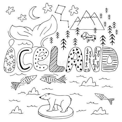 iceland map coloring page iceland hand drawn cartoon map cute illustration with