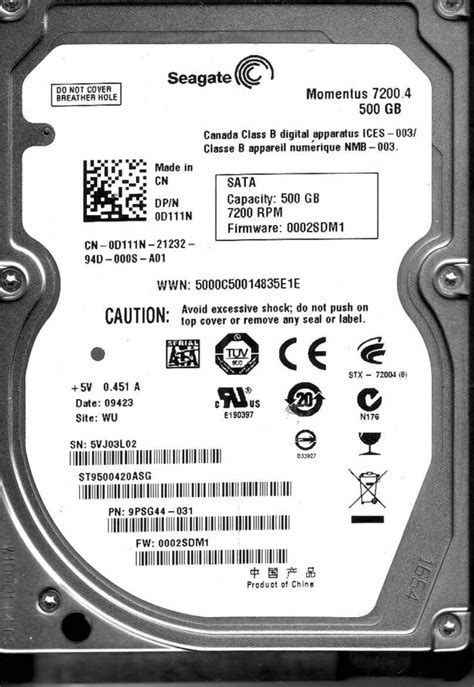 Hdd Seagate Momentus 500gb storage drives seagate momentus 7200 4 st9500420asg 500gb 7200rpm 16mb cache 2 5 inch