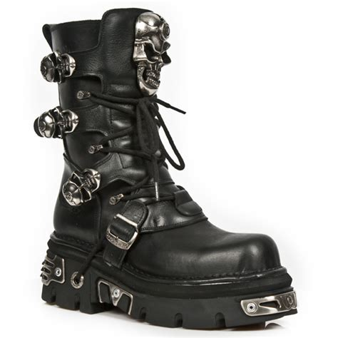 m 375 s1 new rock calf height boots with skull buckles