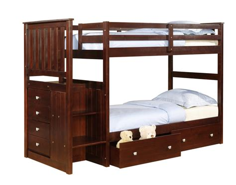 Donco Twin Over Twin Mission Stairway Bunk Bed Bunk Bed Staircase