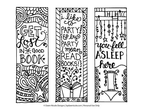 free printable bookmarks you can color free printable coloring page bookmarks dawn nicole designs 174