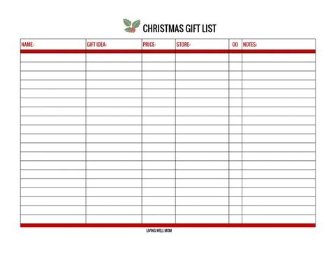 gift list free gift list printable and versions