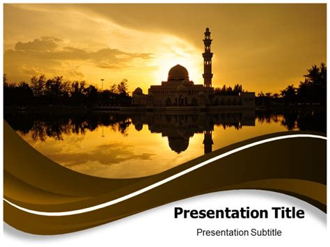 Free Powerpoint Templates Islamic Art Sunset Mosque Islamic Powerpoint