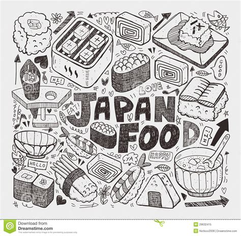 doodle japan doodle japanese sushi element royalty free stock photo