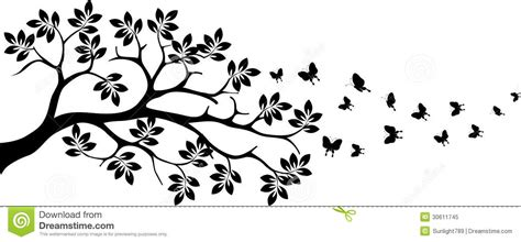 Disn Y Back black tree silhouette with butterfly flying stock