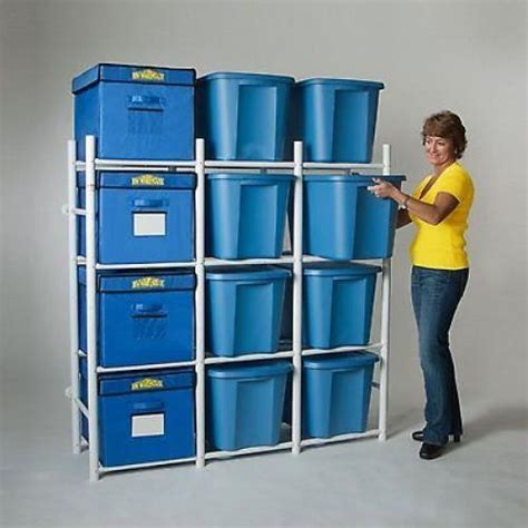 storage tote shelving rack 12 bins organize basement garage walk in closet new ebay
