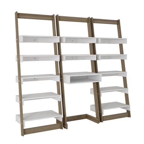 manhattan ladder bookcase manhattan comfort carpina 3 floating ladder bookcase