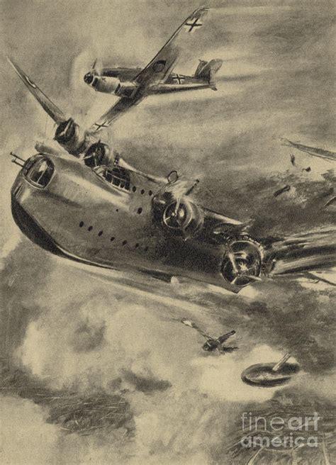 war boat drawing german fighter shooting down a short sunderland flying