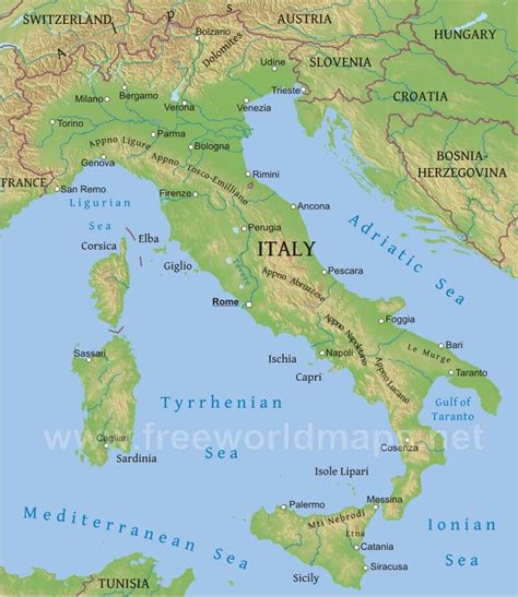 geographical map of italy italy physical map