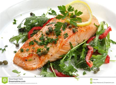 dinner salmon salmon dinner stock images image 7431204