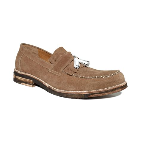 beige dress shoes bed stu skowkroft tassel perforated dress shoes in beige