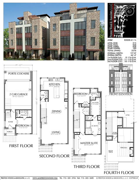town house plans duplex townhome plan e2028 a1 1 small modern house