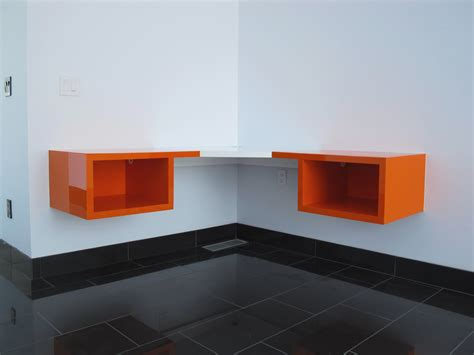 Floating Corner Desk Furniture Floating Wooden Corner Desk With Shelves In White And Orange Color In White Study
