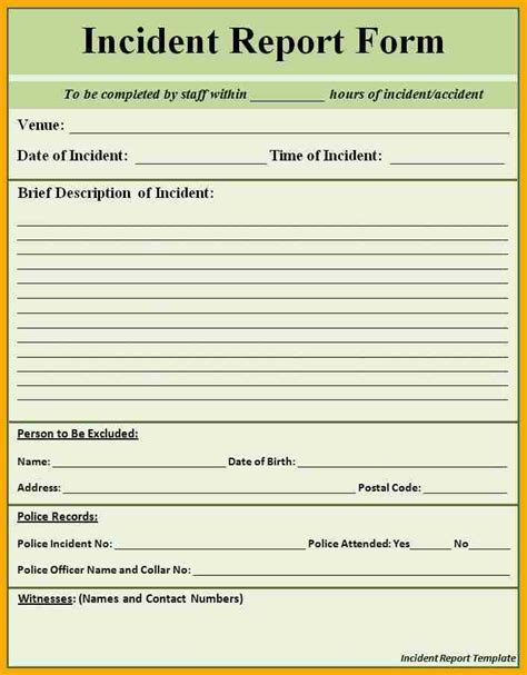 Accident Report Template