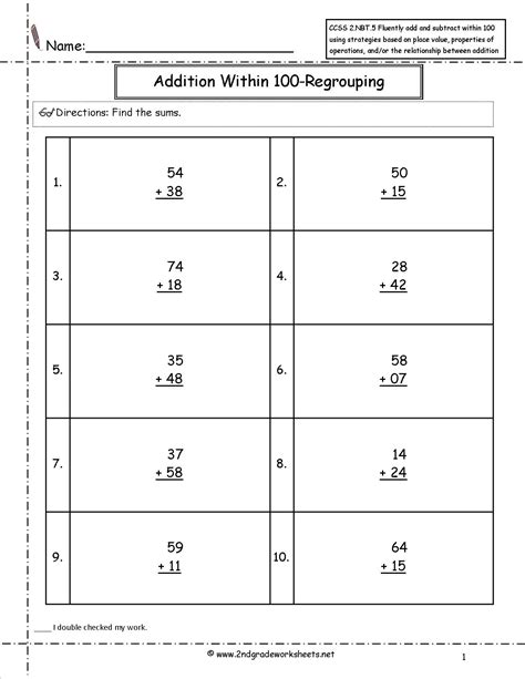 5 Nbt 3 Worksheets ccss 2 nbt 5 worksheets two digit addition and