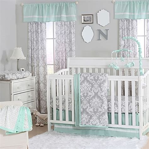 The Peanut Shell 174 Damask Crib Bedding Collection In Mint Green And Grey Crib Bedding