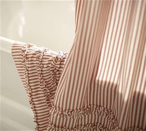 red ticking shower curtain ticking stripe ruffle shower curtains and shower curtains
