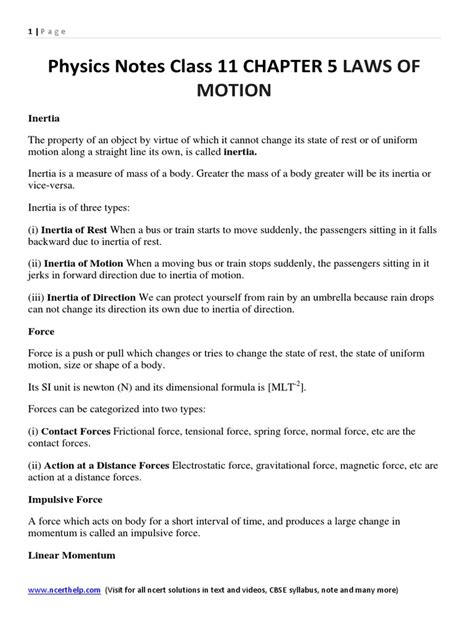 S Day Notes Class 11 Physics Notes Class 11 Chapter 5 Laws Of Motion Friction