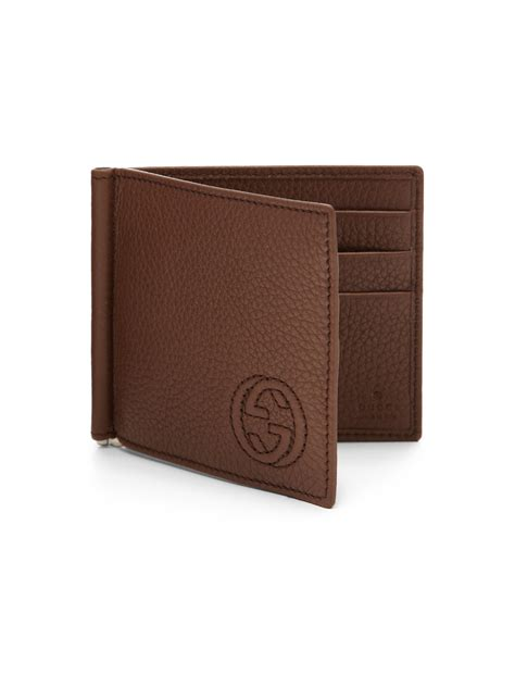 Soho Money Clip lyst gucci soho leather money clip wallet in brown for