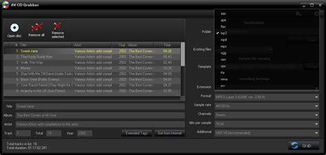 raw file format audio av cd grabber converti tracce musicali cd in wma wav