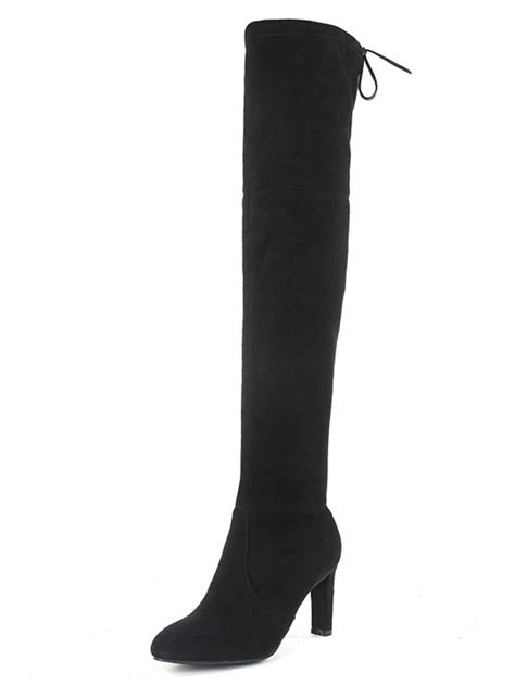 black stretch suede laced back heeled the knee boots
