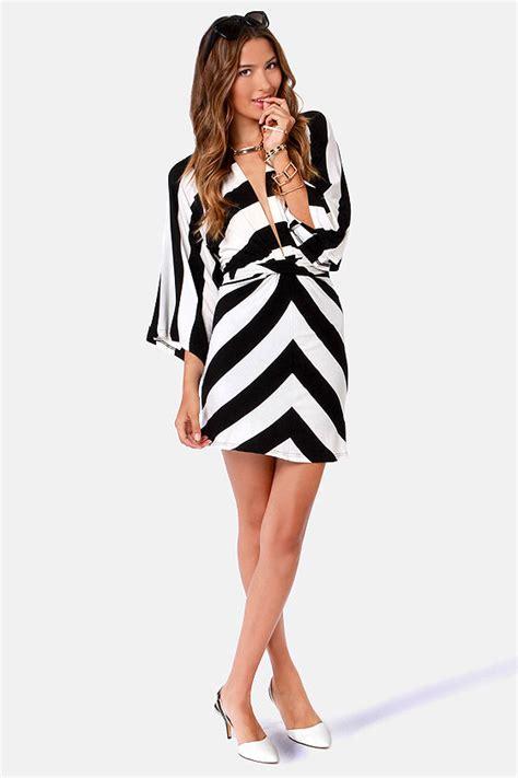 Mano Dress black and white dress striped dress kimono dress