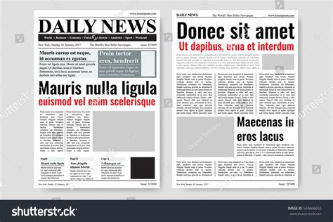 newspaper newsletter template vintage newspaper journal vector template paper stock
