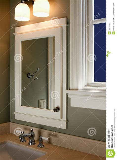 home interior mirror home interior bathroom mirror and sink stock photo image
