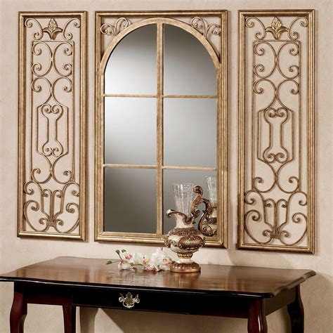 decor mirror provence antique gold finish wall mirror set