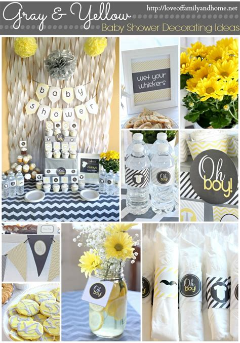 Gray amp yellow baby shower decorating ideas love of family amp home