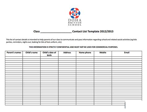 media contact list template pin class list template teachers free on