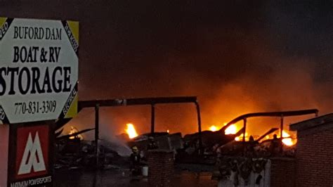 buford dam road boat storage video fire claims 86 boats at storage facility in georgia