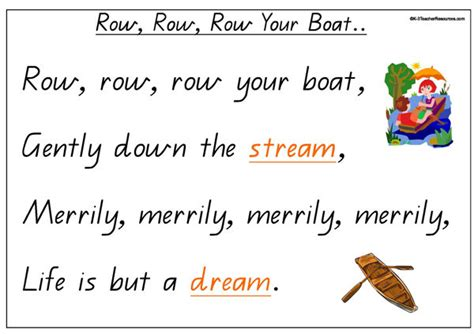 boat song lyrics in english printable row row row your boat concept book k 3 teacher