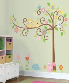 owls scroll tree wall stickers for owl themed nursery and kids rooms pattern pcs triangles sticker room decoration