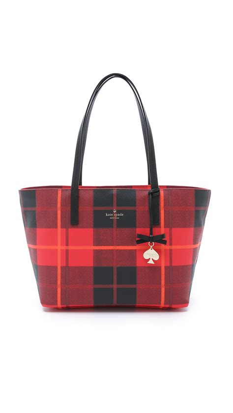 Plaid Tote kate spade new york plaid faux leather tote in black