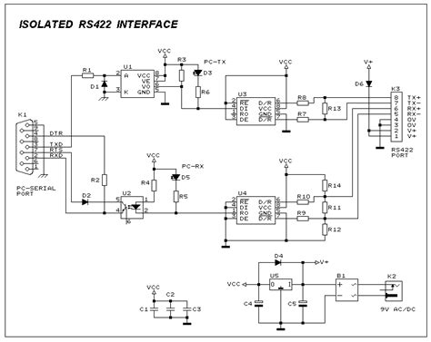 isolated rs422 interface circuit diagram schematic