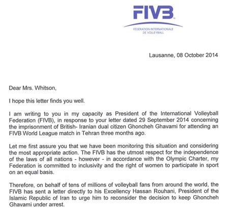 Explanation Letter Sle For Not Attending Exclusive Fivb Promise Not To Award Any More Events To Iran Until Ban On Lifted