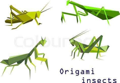Origami Grasshopper - set of green origami insects with a grasshopper praying