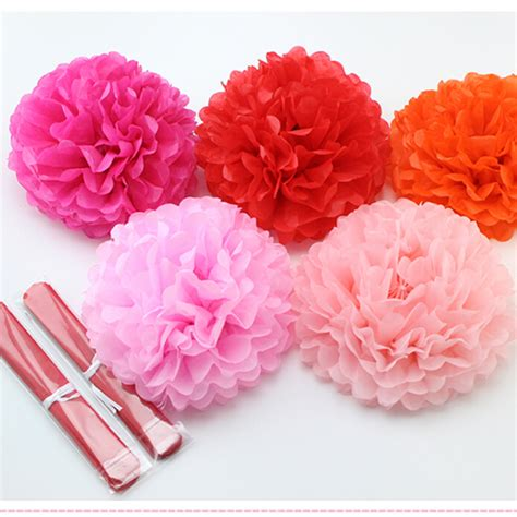 How To Make Tissue Paper Pom Poms Balls - 1pcs 10inch 25cm pompon tissue paper pom poms flower