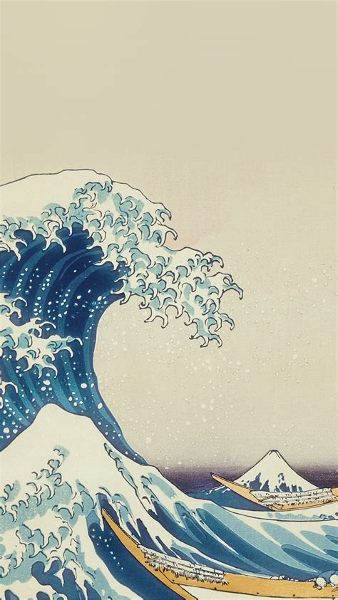 papersco iphone wallpaper  wave art hokusai