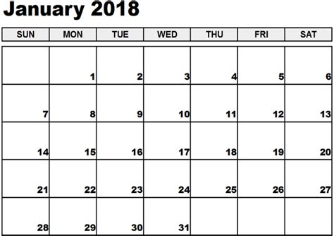 free fillable calendar template january 2018 calendar fillable calendar template letter