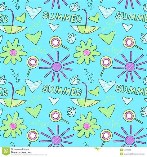 seamless pattern summer doodle summer pattern stock vector image of flower blue