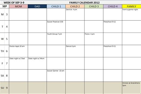 weekly family calendar template monthly family calendar template calendar template 2016