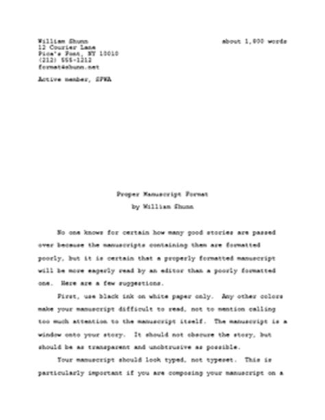 proper manuscript format  fiction writers william shunn